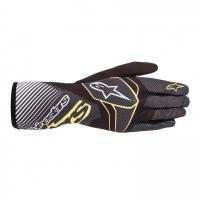 Alpinestars Tech 1-K Race v2 перчатки для картинга, черный/карбон/желтый, 10(M)