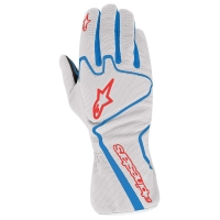 Alpinestars Tech 1-K Race перчатки картинг серебристый/снинй/красный  р-р 10 (L)