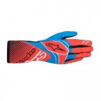 Alpinestars Tech 1-K Race V2 перчатки для картинга, красный неоновый/голубой, 09(S)