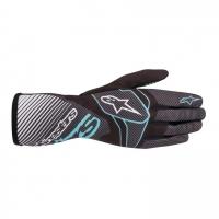 Alpinestars Tech 1-K Race v2 перчатки для картинга, черный/карбон/бирюзовый, 10(S)